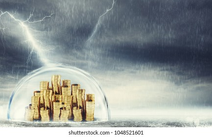 Protect savings. Concept of insurance and money protection. 3D Rendering