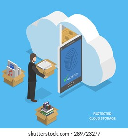 Protected cloud storage flat isometric concept. Man places his data to protected cloud storage via smartphone or tablet.