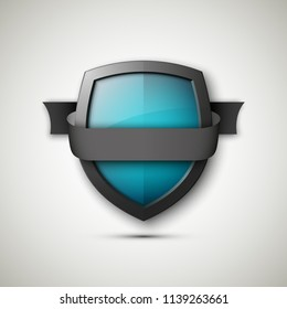 Protected guard shield & band. Safety badge color stripe icon. Privacy banner shield & tape. Security label. Defense tag. Presentation sticker shield ribbon. Defense safeguard stripe. ribbon