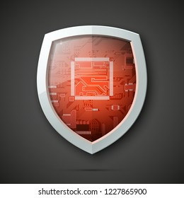Protected guard shield circuit board. Electronic computer hardware processor security technology. Motherboard digital chip. Tech processor safeguard. Privacy shield engineering motherboard component