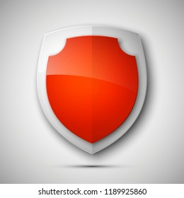 Protected guard shield concept. Safety badge color icon. Privacy colorful banner shield. Security bright label. Defense tag. Presentation shining sticker shape. defense safeguard shield sign