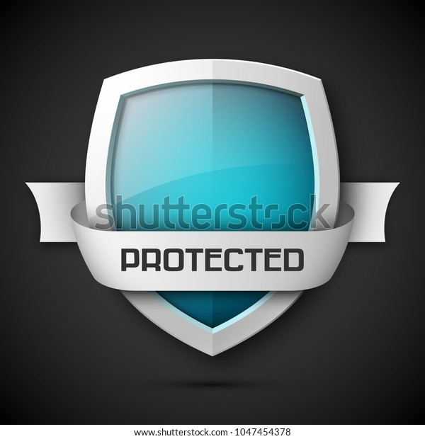 Protected Ribbon Shield Concept Banner Safety Stock