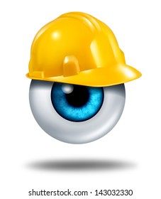 Protecting your eyes and vision protection with a human eyeball wearing a yellow construction hard had as a health care concept of eye care or insurance coverage on a white background.