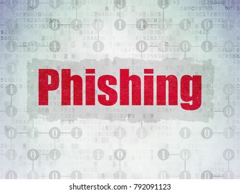 Protection concept: Painted red text Phishing on Digital Data Paper background with  Scheme Of Binary Code