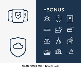 Protection icon set and password field with cyber fraud, surveillance and online thief. Spy related protection icon  for web UI logo design.