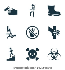 Protection icons set with electrocution hazard, bio-hazard, poison and other acid elements. Isolated  illustration protection icons.