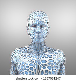 Protection of man against infection, 3D illustration, collection 2