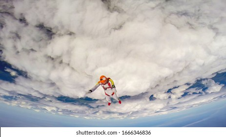 Protection. Professional equipment protects the skydiver during the flight. Bird eye height.
