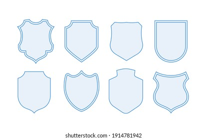 Protection shields collection. Black silhouette shield shape. Modern shields set. illustration.