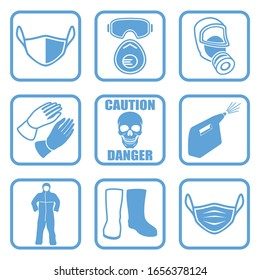 Protective equipment, collection of square blue signs. Sign of danger and symbols of a protective face dressing, suit, gloves, boots, mask, goggles, disinfection sprayer. Raster illustration.
