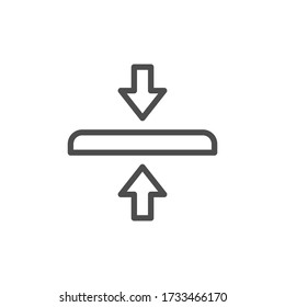 Protective glass thickness line outline icon isolated on white. Thick or thin tempered material for resistant protection electronic gadget
