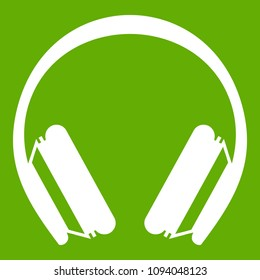Protective headphones icon white isolated on green background. illustration