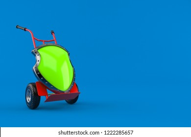Protective shield with hand truck isolated on blue background. 3d illustration