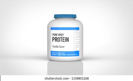 protein bottle 3d rendering