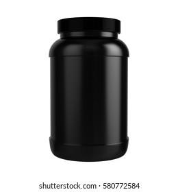 Protein Bottle with Black Cap 3D illustration