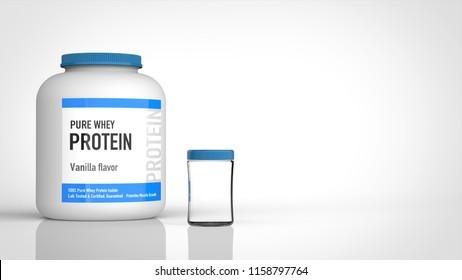 protein bottle and empty shaker left 3d rendering