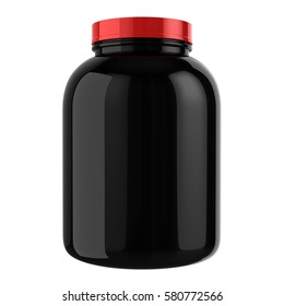 Protein Bottle with Red Cap 3D illustration
