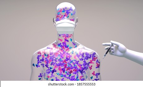 Protein vaccine are composed of  antigens from a pathogen, such as a bacterium or virus. When administered, a protective immune response is against the pathogen.3d illustration