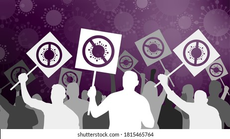Protest against Covid19 restrictions, lockdown, and curfew. Covid-19 denialism and scepticism. Illustration showing virus cells, crowd, hands in gloves with crossed-out coronavirus sign