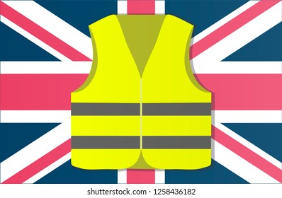 Protest yellow vests in the capital of England London. illustration of events.