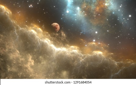 Protoplanetary space nebula and stars in deep space. 3d illustration