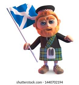 Proud Scottish man in kilt waves the Scottish flag, 3d illustration render