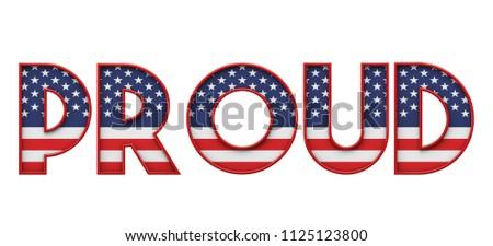 Proud Stars Stripes Flag Font Word Stock Illustration 1125123800