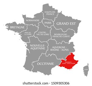 Provence - Alpes - Cote d'Azur red highlighted in map of France