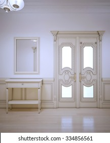 Provence interior of hallway. Elegant console and framed mirror. Exclusive door and wall molding. 3D render