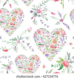 Provence Watercolor Pattern with Floral Hearts | Seamless hand-painted texture with wild meadow flowers and plants on white background for paper and textile design