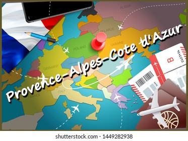 Provence-Alpes-Cote d'Azur city travel and tourism destination concept. France flag and Provence-Alpes-Cote d'Azur city on map. France travel concept map background. Tickets Planes and flights to
