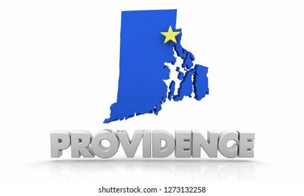 Providence RI Rhode Island City State Map 3d Illustration