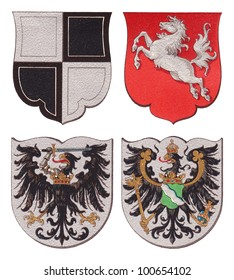Prussia coat of arms - Hohenzollern - Westphalia - West Prussia - Rhine Province / vintage illustration from Meyers Konversations-Lexikon 1897
