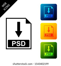 PSD file document icon. Download PSD button icon isolated. Set icons colorful square buttons