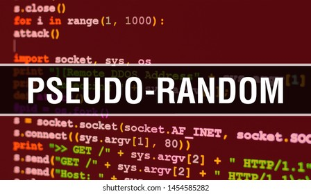 Pseudo-random concept with Random Parts of Program Code. Pseudo-random with Programming code abstract technology background of software developer and Computer script. Pseudo-random Background concept