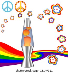 A psychedelic 60's 70's Hippie Kit with red orange lava lamp & retro flower power rainbow elements. Includes 4 clipping paths: Lava lamp; Peace Symbols; Flowers; Rainbow.