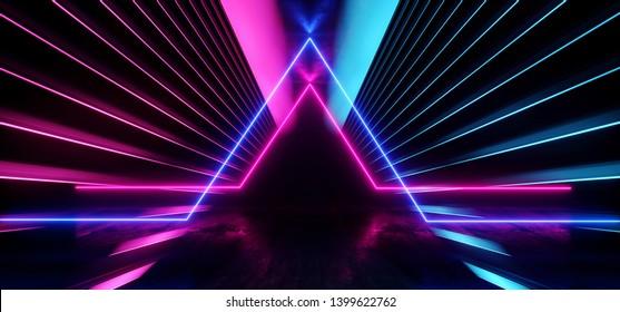 Psychedelic Abstract Futuristic Neon Fluorescent Sci Fi Vibrant Purple Blue Glow Laser Showcase Stage Dark Room Retro Modern Virtual Background Spaceship Corridor Tunnel Shapes 3D Rendering