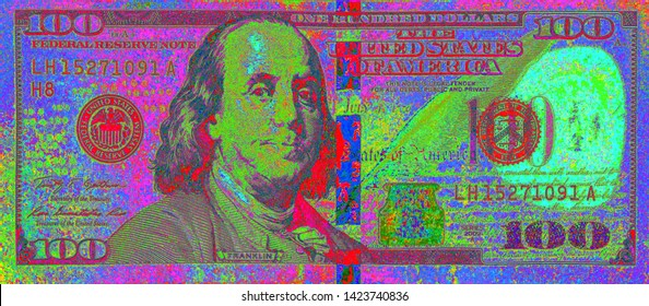 Psychedelic Black Light Affect Of Front Of US 100 Dollar Bill Isolated Over A Solid Black Background