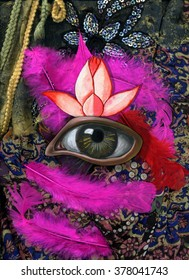 Psychedelic collage with eye, lotus and feathers. Textile background.