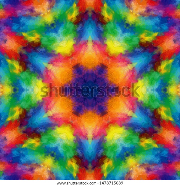 Psychedelic Colorful Mandala Art Can Be Stock Illustration