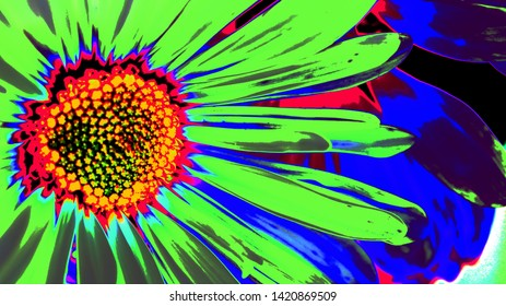 Psychedelic Coloring Abstract Of Flowers