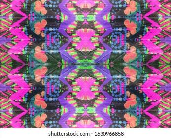 Psychedelic Endless background. Dirty Art wallpaper. Dashiki Pavonine skin on Gray Tone. Oldschool Gringe print. Elegant Neon Watercolor.