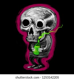 Psychedelic funny skeleton with a bottle of magic alcohol. Illustration drawn in oil style on black background.