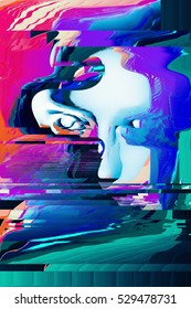 psychedelic glitched woman portrait