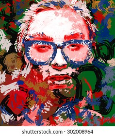 Psychedelic pop art portrait of a woman wearing glasses with stars on the skin. Digital collage