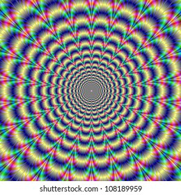 Psychedelic Pulse/A digital abstract image with a psychedelic optically challenging circular pattern of blue red yellow green and purple producing an optical illusion of movement.