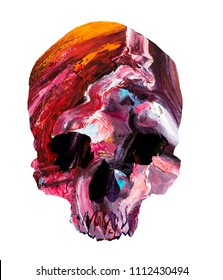 Psychedelic skull head mask filled with colorful paint.