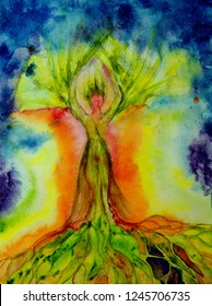 Psychedelic woman tree of life with aura. The dabbing technique near the edges gives a soft focus effect due to the altered surface roughness of the paper.