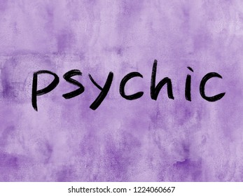 psychic word on watercolor texture background
