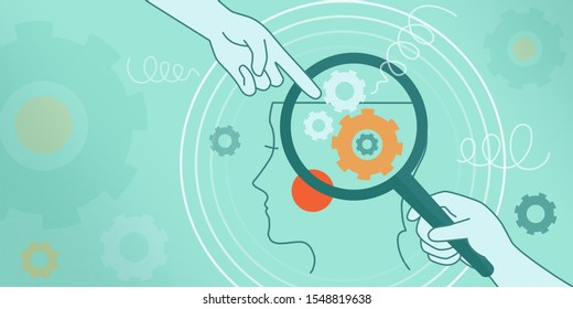 The psychological concept of human thinking, brain mechanics, complexes, problems. Illustration face in profile, magnifier, gears, springs on a blue background. Website, facebook cover, page, banner.